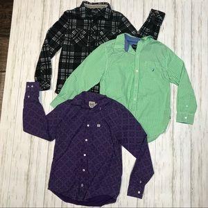 Boys button down long sleeve bundle Sz medium